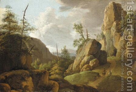 An Extensive Mountainous Landscape With Horsemen On A Road by Jan Van Aken - Reproduction Oil Painting