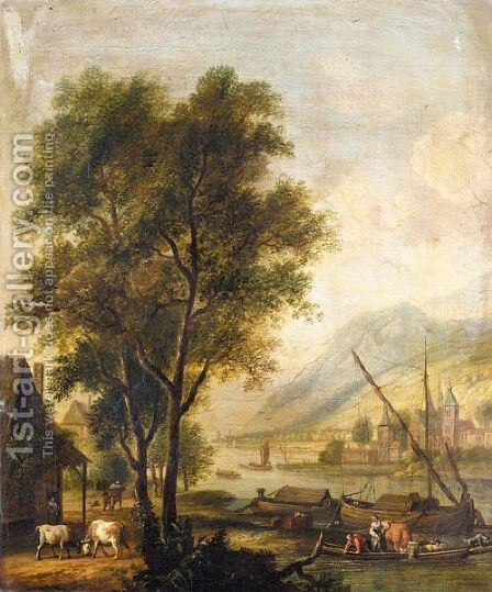 River Landscape With Cattle And Figures Before A Cottage, And Barges On The River by Dirck Dalens II - Reproduction Oil Painting