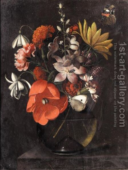 Still Life With Various Flowers In A Glass Vase On A Ledge by Marten Nellius - Reproduction Oil Painting