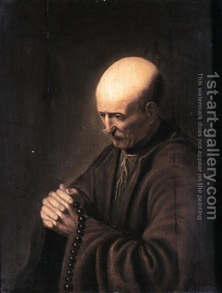 An Old Man With A Rosary by (after) Gerrit Dou - Reproduction Oil Painting