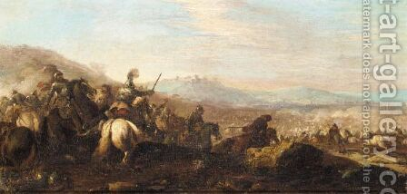 Cavalry Battle With A Town In The Distance To The Right by (after) Pandolfo Reschi - Reproduction Oil Painting