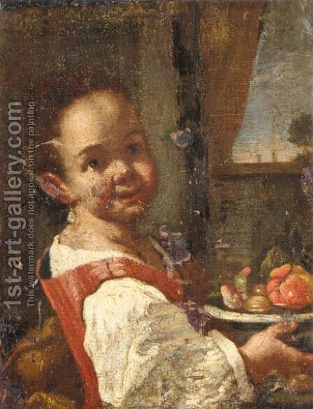 Portrait Of A Girl, Half Length, Holding A Bowl Of Fruit by (after) Antonio Amorosi - Reproduction Oil Painting