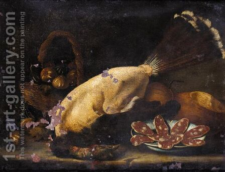 Still Life Of A Basket Of Figs Together With A Plucked Bird, A Plate Of Salami And Loaves Of Bread On A Stone Ledge by (after) Bartolomeo Arbotori - Reproduction Oil Painting