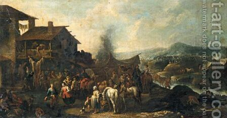 Figures Making Merry Outside A Riverside Tavern, An Encampment In The Distance by (after) Pietro Domenico Oliviero - Reproduction Oil Painting