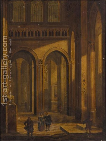 Church Interior With Elegant Figures by (after) Christian Ludwig Ernst Morganstern - Reproduction Oil Painting