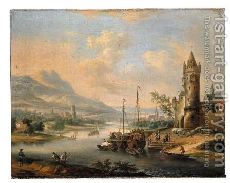 An Extensive Rhenish River Landscape With Figures Unloading Their Boats Before A Town by (after) Christian Georg II Schutz Or Schuz - Reproduction Oil Painting