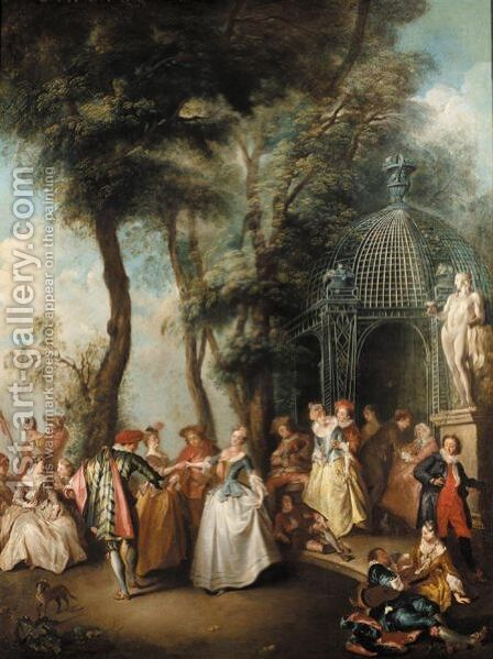 A Quadrille Before An Arbour by (after) Lancret, Nicolas - Reproduction Oil Painting