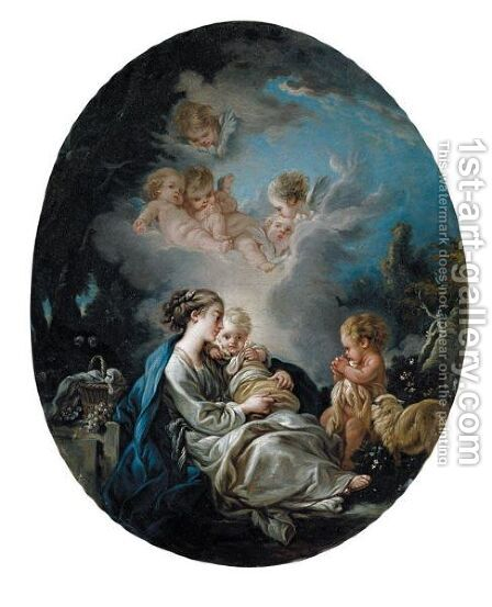 Virgin And Child With St. John The Baptist In A Wooded Landscape by (after) Francois Boucher - Reproduction Oil Painting