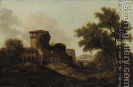 Italianate Landscape With Shepherds by Dutch School - Reproduction Oil Painting