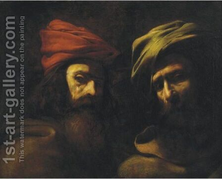 Two Turbanned Men by (after) Theodore Gericault - Reproduction Oil Painting