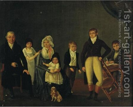 Portrait Of A Family In An Interior by Cesaire Quillier - Reproduction Oil Painting