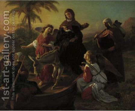 The Flight Into Egypt by Carl Von Blaas - Reproduction Oil Painting