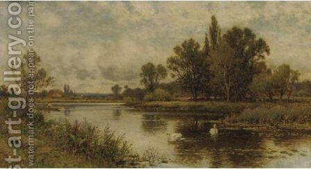 Landscape With Pond And Swanns by Alfred Glendening - Reproduction Oil Painting
