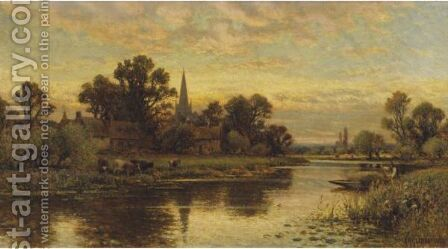 Landscape With Cattle Watering By A Stream by Alfred Glendening - Reproduction Oil Painting