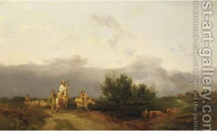 Travelers Along A Path, With A Town In A Distance by (after) William Snr Shayer - Reproduction Oil Painting