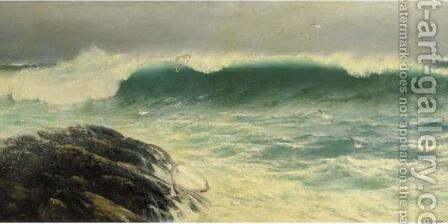 A North Easter On A Ground Sea, Cornish Coast by David James - Reproduction Oil Painting