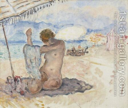 Nu Sur La Plage 2 by Henri Lebasque - Reproduction Oil Painting