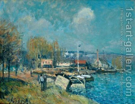 La Seine A Port-Marly by Alfred Sisley - Reproduction Oil Painting