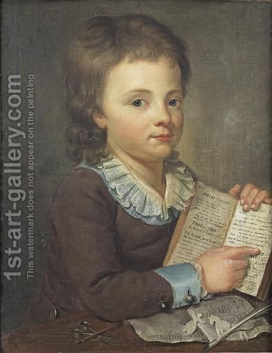 Portrait Of A Young Boy Reading The Fables Of La Fontaine by Ecole Francaise, Xixeme Siecle - Reproduction Oil Painting
