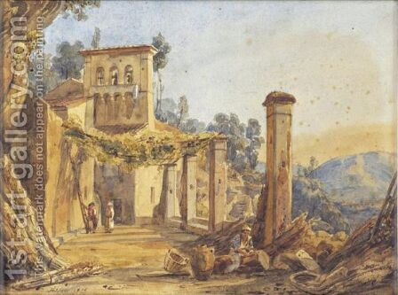 L' HERMITAGE DE LA VOCATELLA PRES DE SALERNE by Anthonie Sminck Pitloo - Reproduction Oil Painting