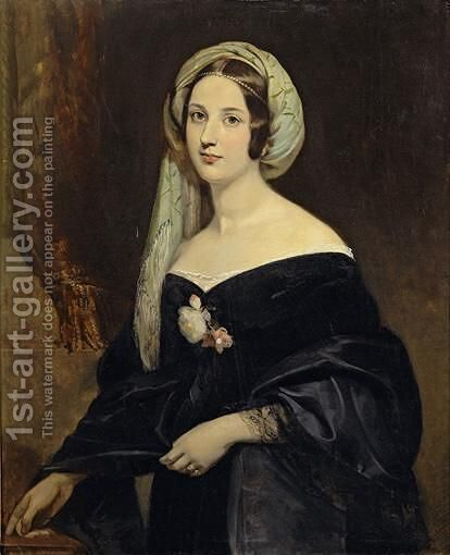 Portrait Of Eleanora-Mary Jenkinson, Wife Of Marechal Lanne's Eldest Son, And 2nd Duchess Of Montebello by (after) Claude-Marie Dubufe - Reproduction Oil Painting
