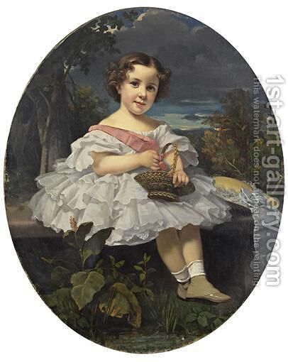 Little Girl Holding A Basket Of Cherries by (after) Franz Xaver Winterhalter - Reproduction Oil Painting