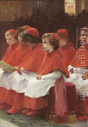 Choir-Boys by Albert Pierre Dawant - Reproduction Oil Painting