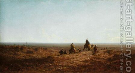 A Caravan Crossing The Plain by Carl Spitzweg - Reproduction Oil Painting