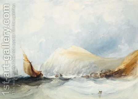 Fishing Boats In A Squall, Off Folkstone by Charles Bentley - Reproduction Oil Painting