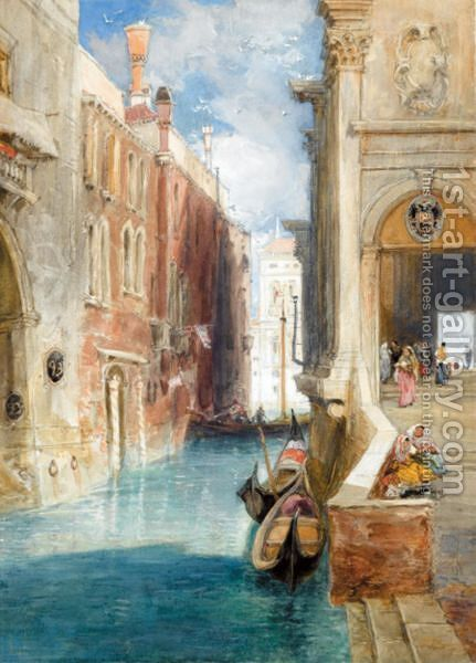 A Canal In Venice by James Holland - Reproduction Oil Painting