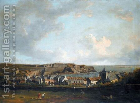 View Of The Citadel And Town Of Le Palais Belleisle With The British Fleet In The Distance by Dominic Serres - Reproduction Oil Painting