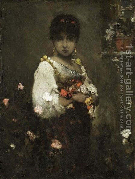 Eastern Beauty With Flowers by (after) Vasily Alexandrovich Kotarbinsky - Reproduction Oil Painting