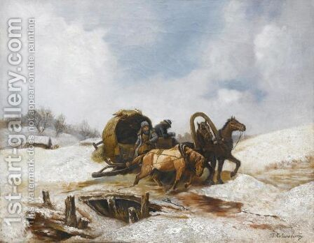 Winter Journey by (after) Pavel Osipovich Kovalevsky - Reproduction Oil Painting