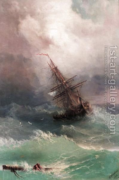 Storm by (after) Ivan Konstantinovich Aivazovsky - Reproduction Oil Painting