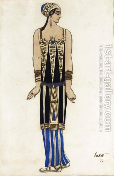Costume Design For An Egyptian Dancer by (after) Leon (Samoilovitch) Bakst - Reproduction Oil Painting