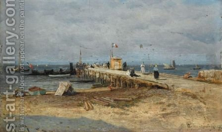 The Pier, Arcachon by Aleksei Petrovich Bogoliubov - Reproduction Oil Painting