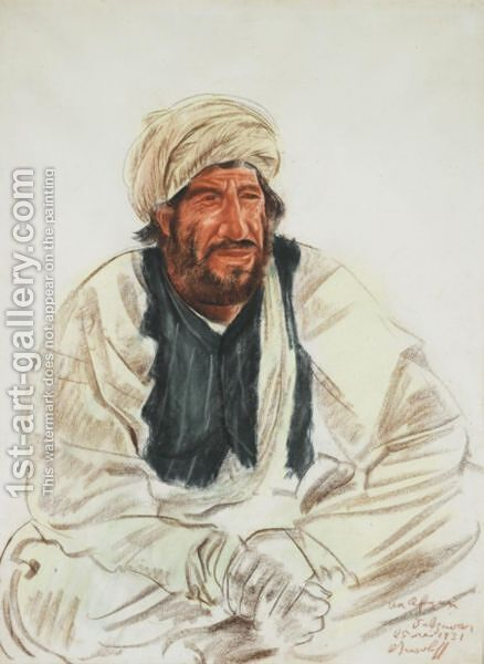 Portrait Of A Seated Afghan by Alexander Evgenievich Yakovlev - Reproduction Oil Painting