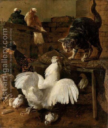 Zuffa Nel Cortile Tra Gatto E Gallina by Jacomo (or Victor, Jacobus) Victors - Reproduction Oil Painting
