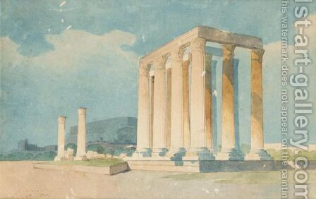 A View Of The Temple Of Olympus Zeus by Giovanni Lanza - Reproduction Oil Painting