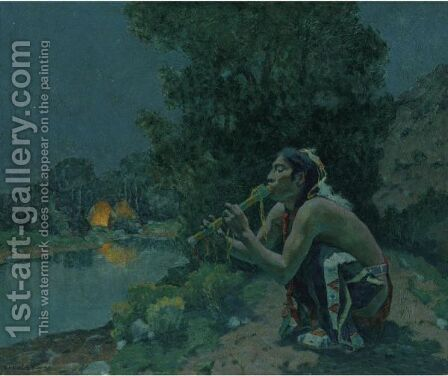 Flute Song Moonlight by Eanger Irving Couse - Reproduction Oil Painting