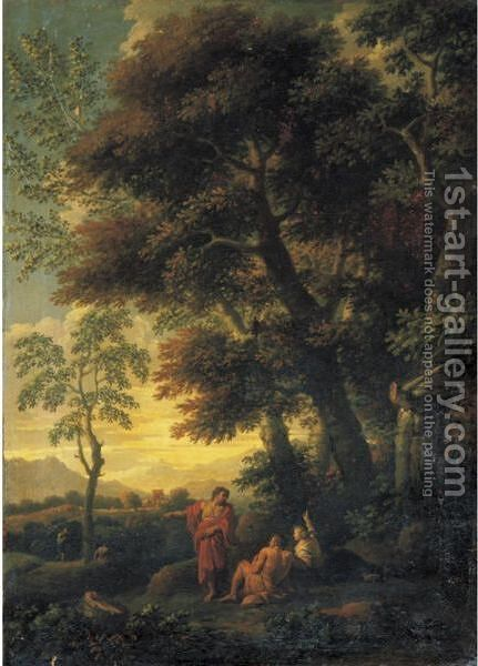 A Landscape With Figures Resting In The Foreground by Jan Frans van Orizzonte (see Bloemen) - Reproduction Oil Painting