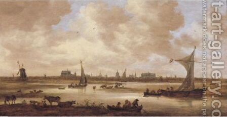 A View Of Leiden From The North, With Cattle Grazing In The Foreground by Jan van Goyen - Reproduction Oil Painting