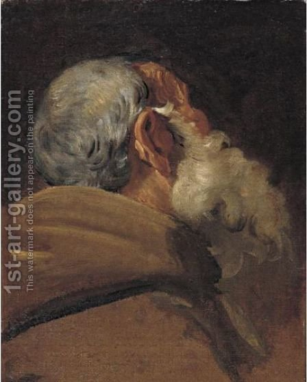 Head Of An Old Man Seen From Behind by (after) Gaetano Gandolfi - Reproduction Oil Painting