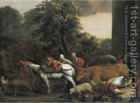 Jacob's Journey To Canaan by (after) Jacopo Bassano (Jacopo Da Ponte) - Reproduction Oil Painting