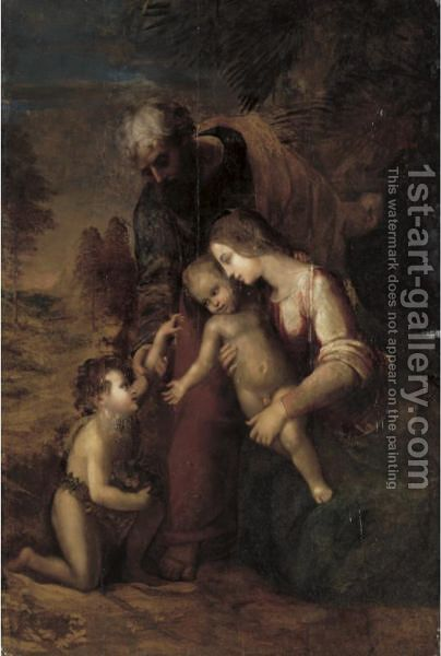 The Holy Family With The Infant St. John The Baptist by (after) Raphael (Raffaello Sanzio of Urbino) - Reproduction Oil Painting