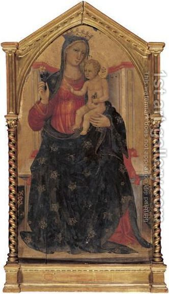 Madonna And Child Enthroned by Bicci Di Lorenzo - Reproduction Oil Painting