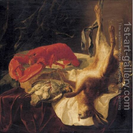 Still Life With A Lobster, Partridges And A Hare On A Table by Jan Fyt - Reproduction Oil Painting