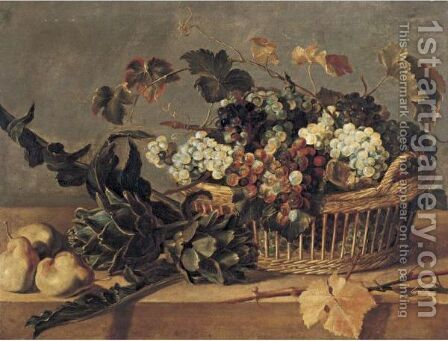 Still Life Of Grapes In A Basket With Artichokes And Pears All Resting On A Table by (after) Frans Snyders - Reproduction Oil Painting