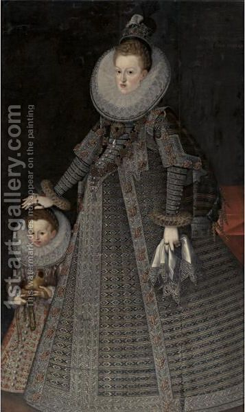 Portrait Of Margaret Of Austria, Queen Of Spain And Portugal And A Child by (after) Bartolome Gonzalez Y Serrano - Reproduction Oil Painting