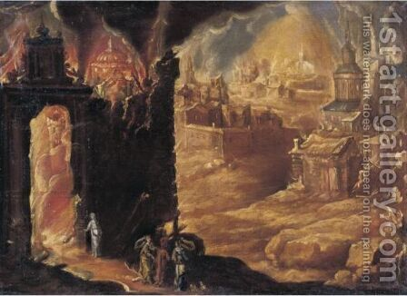 The Destruction Of Sodom And Gomorrah With Lot And His Daughters by (after) Diogo Pereira - Reproduction Oil Painting